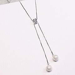 お買い得  ネックレス-女性用 キュービックジルコニア / 淡水パール ペンダントネックレス  -  真珠, ステンレス鋼, 銀メッキ ファッション かわいい ホワイト 52 cm ネックレス ジュエリー 用途 贈り物, 日常