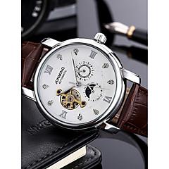 お買い得  メンズ腕時計-男性用 機械式時計 日本産 ブラック / ブラウン 50 m 耐水 クロノグラフ付き 透かし加工 ハンズ カジュアル ファッション - Brown 黒とゴールド ホワイト / ベージュ / ステンレス