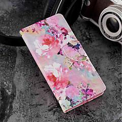 Недорогие Чехлы и кейсы для Sony-Кейс для Назначение Sony Xperia XZ2 Compact / Xperia XZ2 Кошелек / Бумажник для карт / со стендом Чехол Цветы Твердый Кожа PU для Xperia