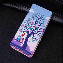 voordelige Hoesjes / covers voor Huawei-hoesje Voor Huawei P20 lite / P20 Kaarthouder / Portemonnee / met standaard Volledig hoesje Boom / Uil Hard PU-nahka voor Huawei P20 lite