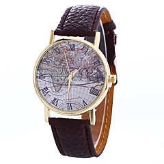 preiswerte Damenuhren-Damen Armbanduhr Chinesisch Großes Ziffernblatt / Armbanduhren für den Alltag PU Band Retro / Weltkarte Muster Schwarz / Weiß / Blau