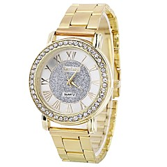 tanie Zegarki na bransoletce-Damskie Kwarcowy Zegarek na bransoletce Chiński Duża tarcza sztuczna Diament Stop Pasmo Błyszczące Twórczy Srebro Złoty Różowe złoto
