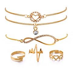 abordables Bijoux pour Femme-Femme Chaînes & Bracelets - Plaqué or Fréquence cardiaque Classique, Mode Bracelet Or Pour Cadeau Anniversaire / 6pcs