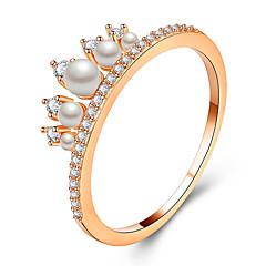 preiswerte Ringe-Paar Kubikzirkonia Eheringe / Verlobungsring - Künstliche Perle, Aleación Prinzessin Modisch, Elegant Kronenform 6 / 7 / 8 Gold / Silber / Rotgold Für Hochzeit / Verlobung
