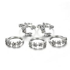 お買い得  指輪-女性用 ホロー リングセット  -  サンケア, 星形 スタイリッシュ シルバー 用途 日常 / 5個