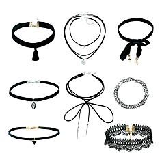 お買い得  ネックレス-女性用 ペンダントネックレス  -  レース ヴィンテージ, ファッション ブラック 40 cm ネックレス ジュエリー 8個入り 用途 祝日, お出かけ