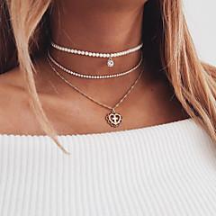 preiswerte Halsketten-Damen Halsketten / Anhängerketten / Ketten - Künstliche Perle Kreuz, Herz Modisch, Elegant, Mehrlagig Heart Gold 30 cm Modische Halsketten Schmuck 3 Stück Für Hochzeit, Verlobung, Geschenk