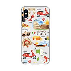 Недорогие Кейсы для iPhone X-Кейс для Назначение Apple iPhone X / iPhone 8 Plus С узором Кейс на заднюю панель Мультипликация / Вид на город Мягкий ТПУ для iPhone X / iPhone 8 Pluss / iPhone 8