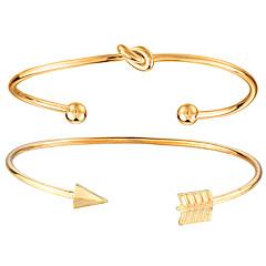 preiswerte Armbänder-Damen Armreife Manschetten-Armbänder - Metallisch, Doppellagig, Freizeit Armbänder Gold Für Alltag Strasse Ausgehen