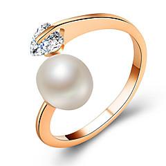 お買い得  指輪-カップル用 キュービックジルコニア カップルリング 婚約指輪  -  人造真珠, 合金 ハート ファッション, エレガント 調整可 ゴールド / シルバー / ローズゴールド 用途 結婚式 バレンタイン