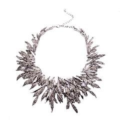 preiswerte Halsketten-Damen Kristall Halsketten - Blattform Retro, Ethnisch, überdimensional Gold, Schwarz, Silber 35 cm Modische Halsketten Schmuck 1pc Für Party / Abend, Alltag
