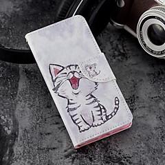 Недорогие Кейсы для iPhone X-Кейс для Назначение Apple iPhone X / iPhone 8 Plus Кошелек / Бумажник для карт / со стендом Чехол Кот Твердый Кожа PU для iPhone X /