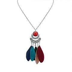 preiswerte Halsketten-Damen Lang Anhängerketten  -  Harz Feder Stilvoll, Retro, Ethnisch Rot, Blau, Leicht Grün 70 cm Modische Halsketten 1pc Für Ausgehen, Geburtstag