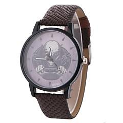 お買い得  レディース腕時計-女性用 ドレスウォッチ リストウォッチ クォーツ カジュアルウォッチ 愛らしいです スカル PU 生地 バンド ハンズ カジュアル ファッション ブラック / ブルー / ブラウン - ブラック Brown ブルー 1年間 電池寿命 / 大きめ文字盤