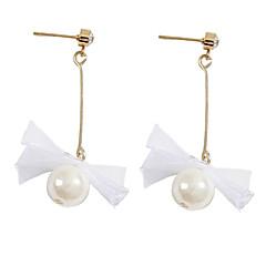 preiswerte Ohrringe-Damen Lang Ohrring - Künstliche Perle, Spitze Schleife Einfach, Koreanisch, Modisch Weiß Für Alltag
