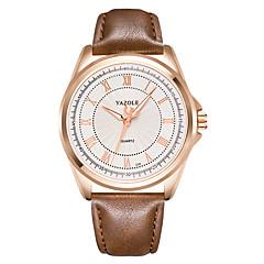お買い得  メンズ腕時計-YAZOLE 男性用 リストウォッチ カジュアルウォッチ レザー バンド チャーム ブラック / ブラウン / SSUO 377