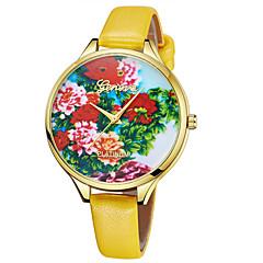 お買い得  レディース腕時計-Geneva 女性用 リストウォッチ 中国 新デザイン / カジュアルウォッチ / クール レザー バンド カジュアル / ファッション ブラウン / パープル / 黄色