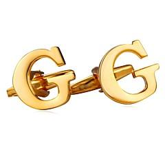 billige Manchetknapper-Bogstaver Sølv / Gylden Manchetter Plastik Alfabetformet Metallic / Formelt Herre Kostume smykker Til Gave / Daglig