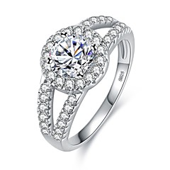 cheap Rings-Women's Cubic Zirconia Stack Ring - Platinum Plated, S925 Sterling Silver 6 / 7 / 8 / 9 Silver For Gift Office & Career