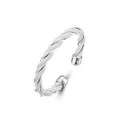 abordables Bijoux pour Femme-Femme Bracelets Rigides Manchettes Bracelets - Plaqué argent Tissage, Twist Circle Original, Mode, Ouvert Bracelet Argent Pour Mariage Soirée Cadeau