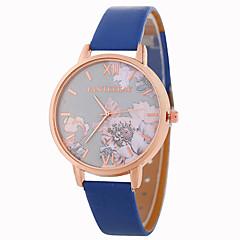 preiswerte Damenuhren-Damen Armbanduhr Chinesisch Armbanduhren für den Alltag / lieblich PU Band Blume / Modisch Schwarz / Weiß / Blau