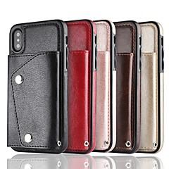Недорогие Кейсы для iPhone 6 Plus-Кейс для Назначение Apple iPhone X / iPhone 8 Кошелек / Бумажник для карт Кейс на заднюю панель Однотонный Твердый Кожа PU для iPhone X / iPhone 8 Pluss / iPhone 8