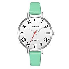 お買い得  レディース腕時計-Geneva 女性用 リストウォッチ 中国 新デザイン / カジュアルウォッチ / クール レザー バンド カジュアル / ファッション グリーン / ピンク / ベージュ