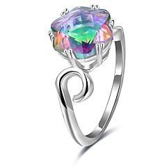 preiswerte Ringe-Damen Kubikzirkonia Stilvoll Ring - Platiert Mehrfarbig 6 / 7 / 8 Silber Für Geburtstag / Geschenk