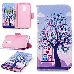 Недорогие Чехлы и кейсы для LG-Кейс для Назначение LG K10 2018 Кошелек / Бумажник для карт / со стендом Чехол дерево Твердый Кожа PU для LG K10 2018