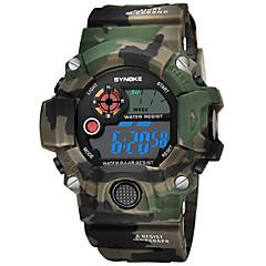 お買い得  メンズ腕時計-SYNOKE 男性用 スポーツウォッチ デジタルウォッチ デジタル 50 m 耐水 カレンダー クロノグラフ付き PU バンド デジタル ファッション ブルー / レッド / グリーン - レッド グリーン ブルー / ストップウォッチ / 夜光計