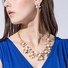 お買い得  ジュエリーセット-女性用 真珠 ジュエリーセット  -  真珠, 人造真珠, ラインストーン フラワー オリジナル, 欧風, ファッション 含める ゴールド / シルバー 用途 パーティー / 誕生日 / 婚約 / イミテーションダイヤモンド / イヤリング・ピアス / ネックレス