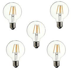 お買い得  LED 電球-5個 4 W 360 lm E26 / E27 フィラメントタイプLED電球 G80 4 LEDビーズ COB 装飾用 温白色 220-240 V