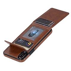 Недорогие Кейсы для iPhone X-Кейс для Назначение Apple iPhone X / iPhone 8 / iPhone XS Кошелек / Бумажник для карт / Флип Чехол Однотонный Твердый Кожа PU для iPhone XS / iPhone XR / iPhone XS Max
