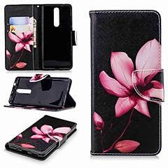 Недорогие Чехлы и кейсы для Nokia-Кейс для Назначение Nokia Nokia 5.1 / Nokia 3.1 Кошелек / Бумажник для карт / со стендом Чехол Цветы Твердый Кожа PU для Nokia 8 / Nokia 6 2018 / Nokia 2.1