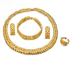 お買い得  ジュエリーセット-女性用 レイヤード ジュエリーセット  -  18Kゴールドメッキ エスニック 含める バングル ドロップイヤリング ペンダントネックレス ゴールド 用途 婚約 バレンタイン / 指輪