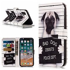 Недорогие Кейсы для iPhone 7 Plus-Кейс для Назначение Apple iPhone X / iPhone 8 Plus Кошелек / Бумажник для карт / со стендом Чехол С собакой Твердый Кожа PU для iPhone X / iPhone 8 Pluss / iPhone 8