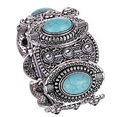 abordables Bijoux pour Femme-Femme Turquoise Le style rétro Bracelets Vintage Large bracelet - Flower Shape Large, Luxe, Rétro Bracelet Turquoise Pour Cadeau Plein Air