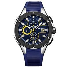 お買い得  メンズ腕時計-MEGIR スポーツウォッチ エミッタ 耐水, カレンダー, クロノグラフ付き ブラック / シルバー / ブルー / 日本産 / 夜光計 / 日本産