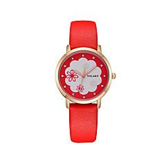 abordables Relojes Florales-Mujer Reloj de Pulsera Cuarzo Reloj Casual PU Banda Analógico Flor Moda Negro / Blanco / Azul - Rojo Rosa Azul Claro