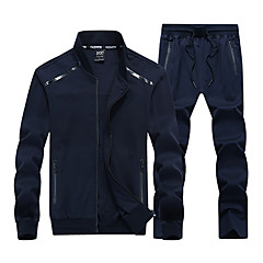 cheap Men's Jackets-Men's Sports Spring &  Fall Regular Jacket, Solid Colored Stand Long Sleeve Polyester Dark Gray / Navy Blue / Army Green XXXXXXL / 8XL / 9XL