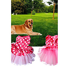 お買い得  犬用ウェア&アクセサリー-犬用 / 猫用 ドレス 犬用ウェア 水玉 / 波点 ピンク ファブリック コスチューム ペット用 女性 ワンピース / ボイル / シアー
