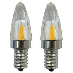 お買い得  LED 電球-2pcs 3 W 150-200 lm E12 LEDキャンドルライト 1 LEDビーズ COB 装飾用 温白色 / クールホワイト 220-240 V / 110-120 V