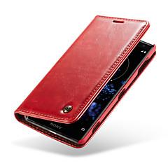Недорогие Чехлы и кейсы для Sony-Кейс для Назначение Sony Xperia XZ2 Кошелек / Бумажник для карт / со стендом Чехол Однотонный Твердый Настоящая кожа для Xperia XZ2