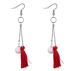 preiswerte Ohrringe-Damen Lang Tropfen-Ohrringe - Künstliche Perle Kreativ Retro, Ethnisch, Modisch Grau / Rot / Hellblau Für Party / Abend / Geburtstag
