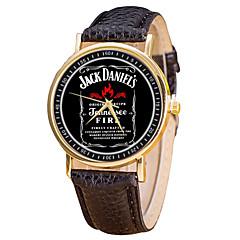 preiswerte Damenuhren-Herrn / Damen Armbanduhr Chinesisch Kreativ / Neues Design / Cool Legierung / Leder Band Freizeit / Uhr mit Wörtern Schwarz / Weiß / Silber