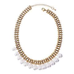preiswerte Halsketten-Damen Quaste / Dicke Kette Statement Ketten - Künstliche Perle Blume Retro, Europäisch, Modisch Weiß 40 cm Modische Halsketten Schmuck 1pc Für Party / Abend