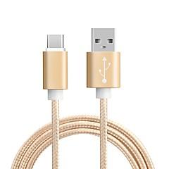 ราคาถูก สายเคเบิลโทรศัพท์และอะแดปเตอร์-Type-C อะแดปเตอร์สายเคเบิล USB ถัก / ความเร็วสูง / ค่าใช้จ่ายด่วน สายเคเบิ้ล สำหรับ โทรศัพท์ Samsung / Huawei / MacBook Pro 100 cm สำหรับ ไนลอน