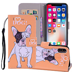 Недорогие Кейсы для iPhone 7 Plus-Кейс для Назначение Apple iPhone X / iPhone 8 Plus Кошелек / Бумажник для карт / со стендом Чехол С собакой / Слон Твердый Кожа PU для iPhone X / iPhone 8 Pluss / iPhone 8