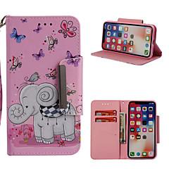 Недорогие Кейсы для iPhone 6 Plus-Кейс для Назначение Apple iPhone X / iPhone 8 Plus Кошелек / Бумажник для карт / со стендом Чехол Слон Твердый Кожа PU для iPhone X / iPhone 8 Pluss / iPhone 8