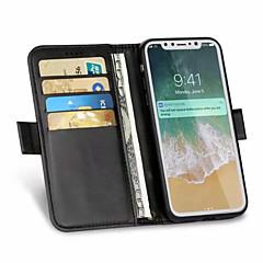Недорогие Кейсы для iPhone 5-CaseMe Кейс для Назначение Apple iPhone X / iPhone 8 Plus Бумажник для карт / Защита от удара / Флип Чехол Однотонный Твердый Кожа PU для iPhone X / iPhone 8 Pluss / iPhone 8